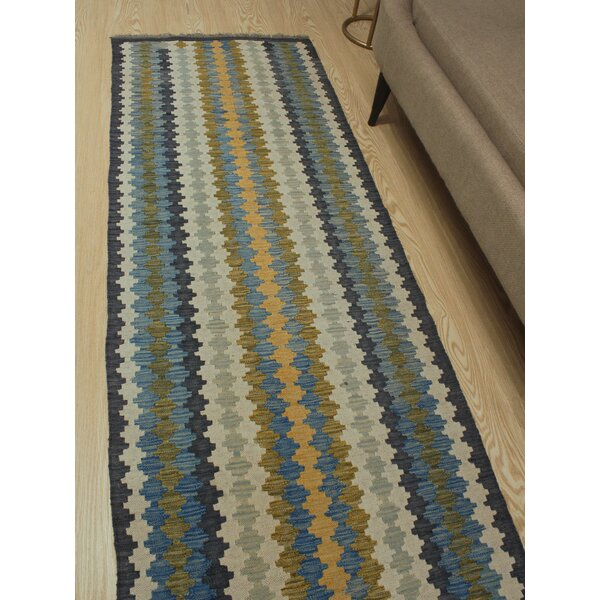 Foundry Select Runner Hults Southwestern Handmade Kilim Wool Blue Ivory Green Area Rug Wayfair