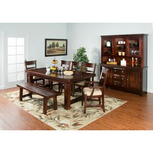 Midvale Extension in Rustic Mahogany Solid Wood Dining Table Loon Peak