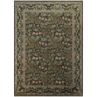Affordable One-of-a-Kind Roca Hand-Knotted 10'3 x 14'3 Wool Green/Black Area Rug By Isabelline
