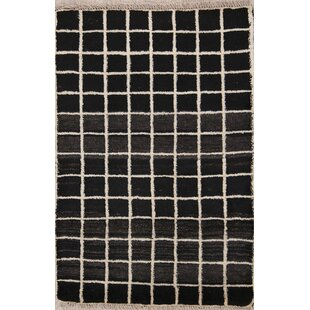 Affordable One-of-a-Kind Paynesville Checked Shiraz Gabbeh Persian Hand-Knotted 2'8 x 4' Wool Black/Beige Area Rug By Isabelline