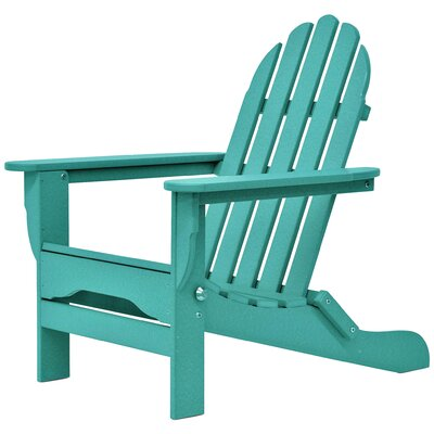 Paterson Plastic Folding Adirondack Chair Color: Aruba by August Grove