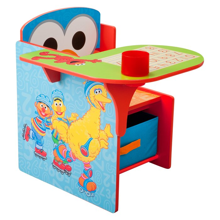 Awesome Sesame Street Kids Desk Chair With Storage Compartment And Cup Holder Pabps2019 Chair Design Images Pabps2019Com