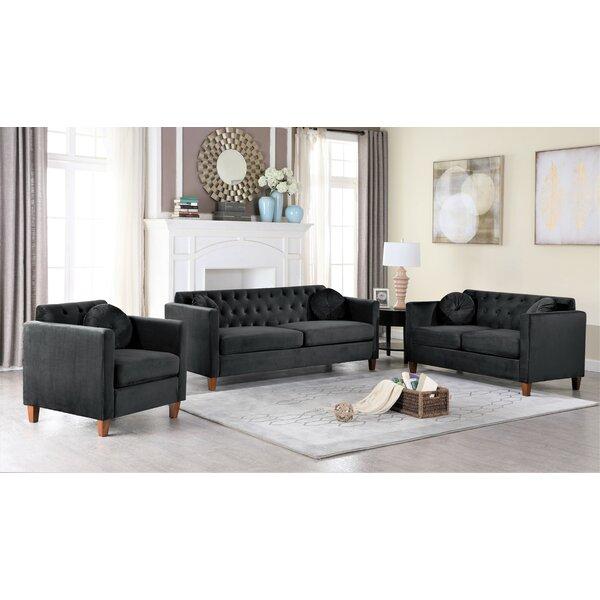 Mercer41 Persaud Classic Chesterfield 2 Piece Living Room Set Reviews Wayfair
