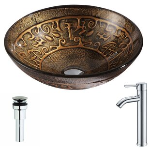Price comparison Alto Glass Circular Vessel Bathroom Sink with Faucet By ANZZI