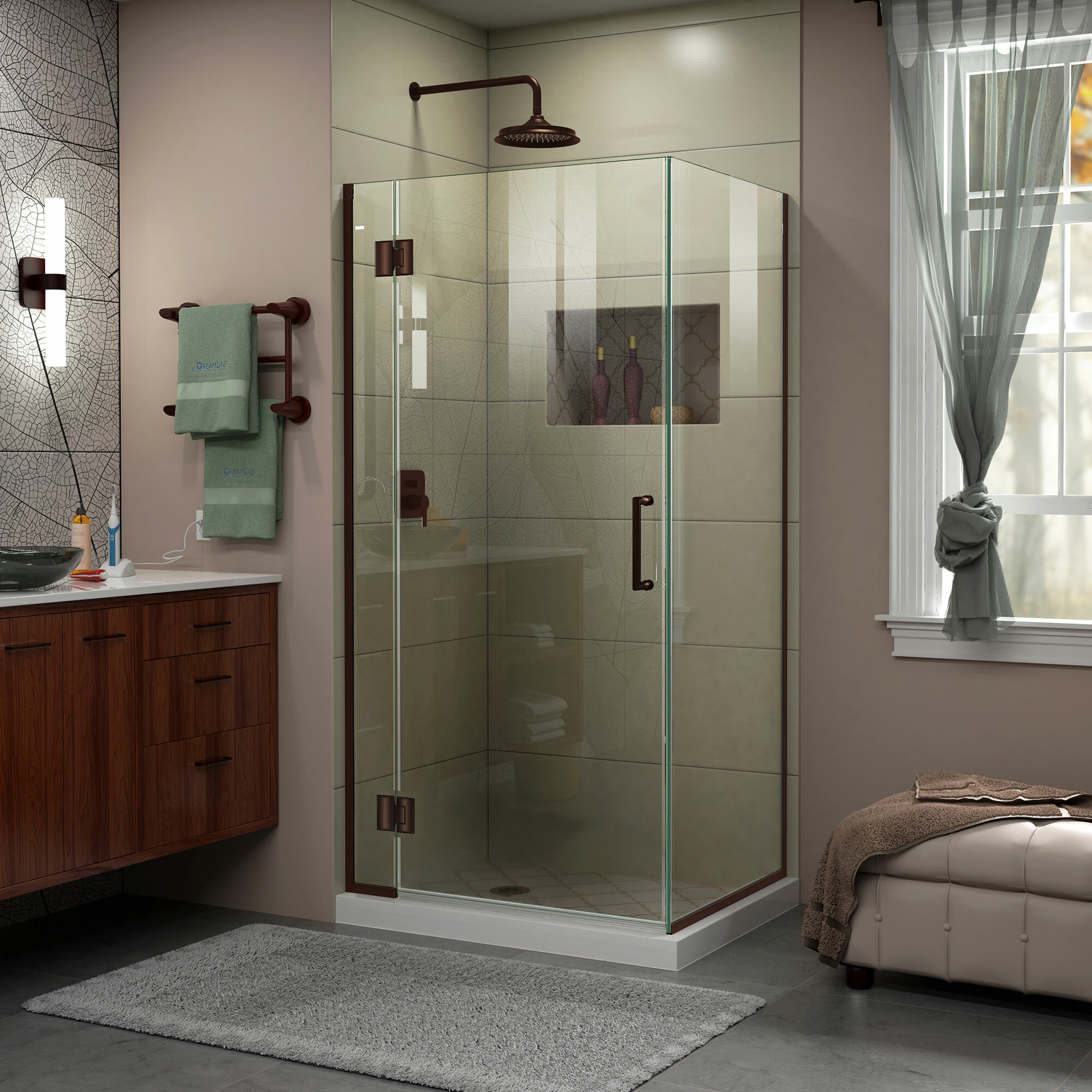 DreamLine Unidoor-X 33 3/8 in. W x 34 in. D x 72 in. H Hinged Shower ...