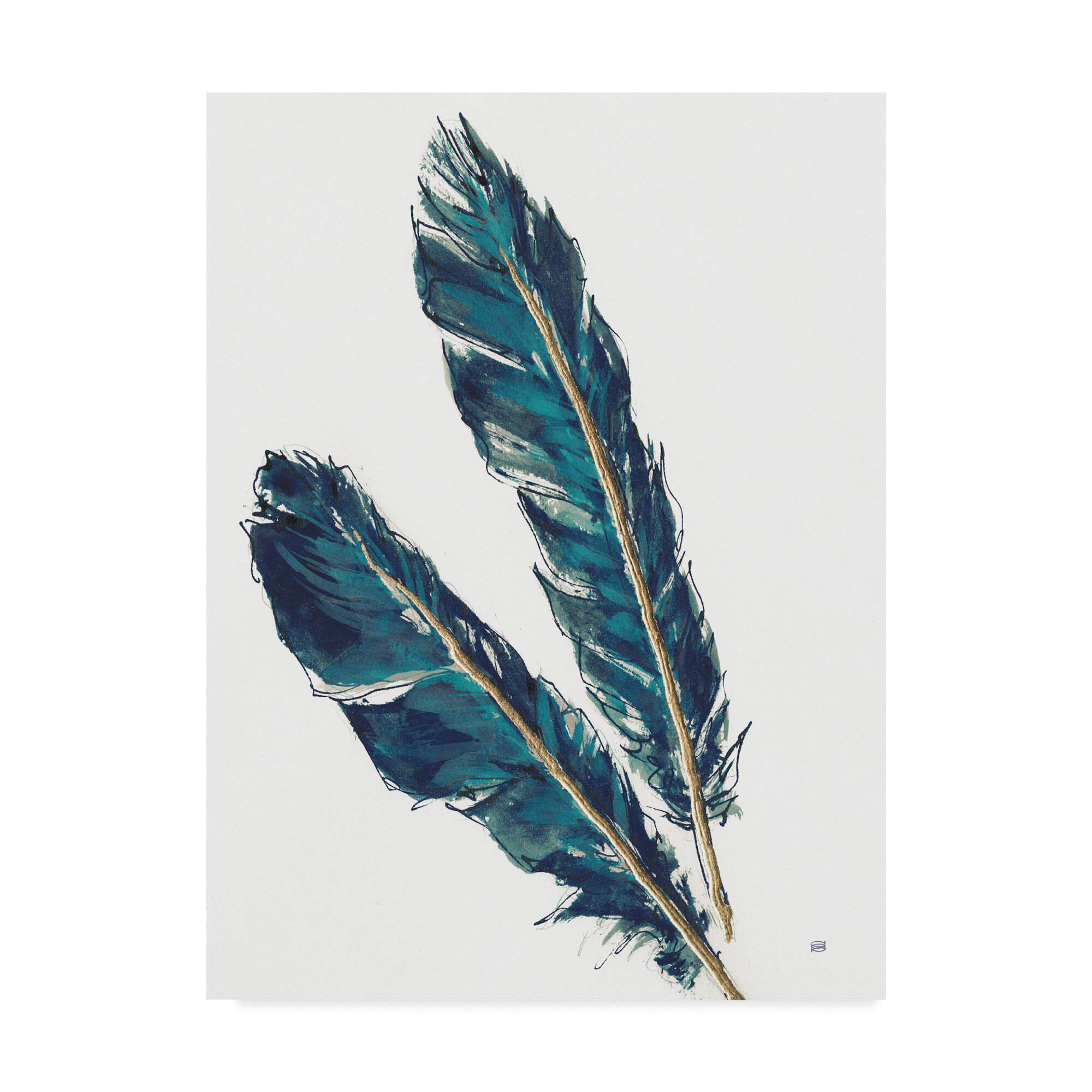Bungalow Rose Gold Feathers Iii Indigo Crop Acrylic Painting Print On Wrapped Canvas Wayfair
