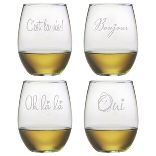 French 4-Piece 21 oz. Stemless Wine Glass Set