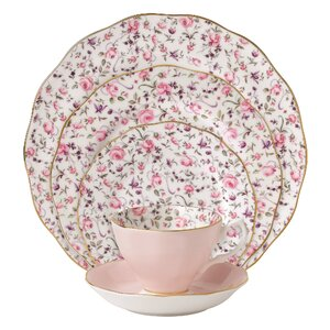Rose Confetti Vintage formal Bone China 5 Piece Place Setting, Service for 1