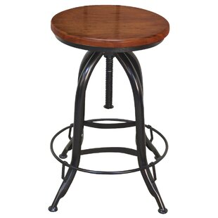 Bretz Adjustable Height Swivel Bar Stool by Williston Forge
