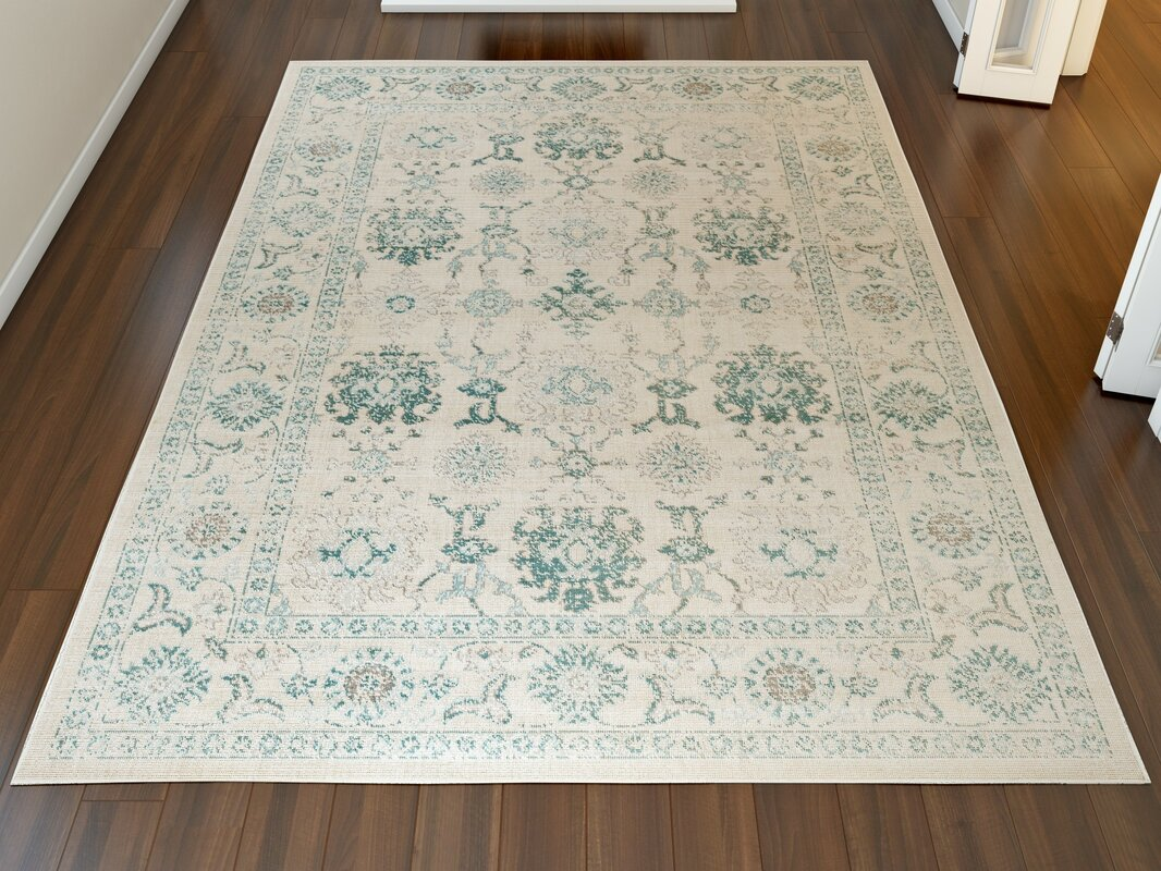 Canfield Teal/Beige Area Rug