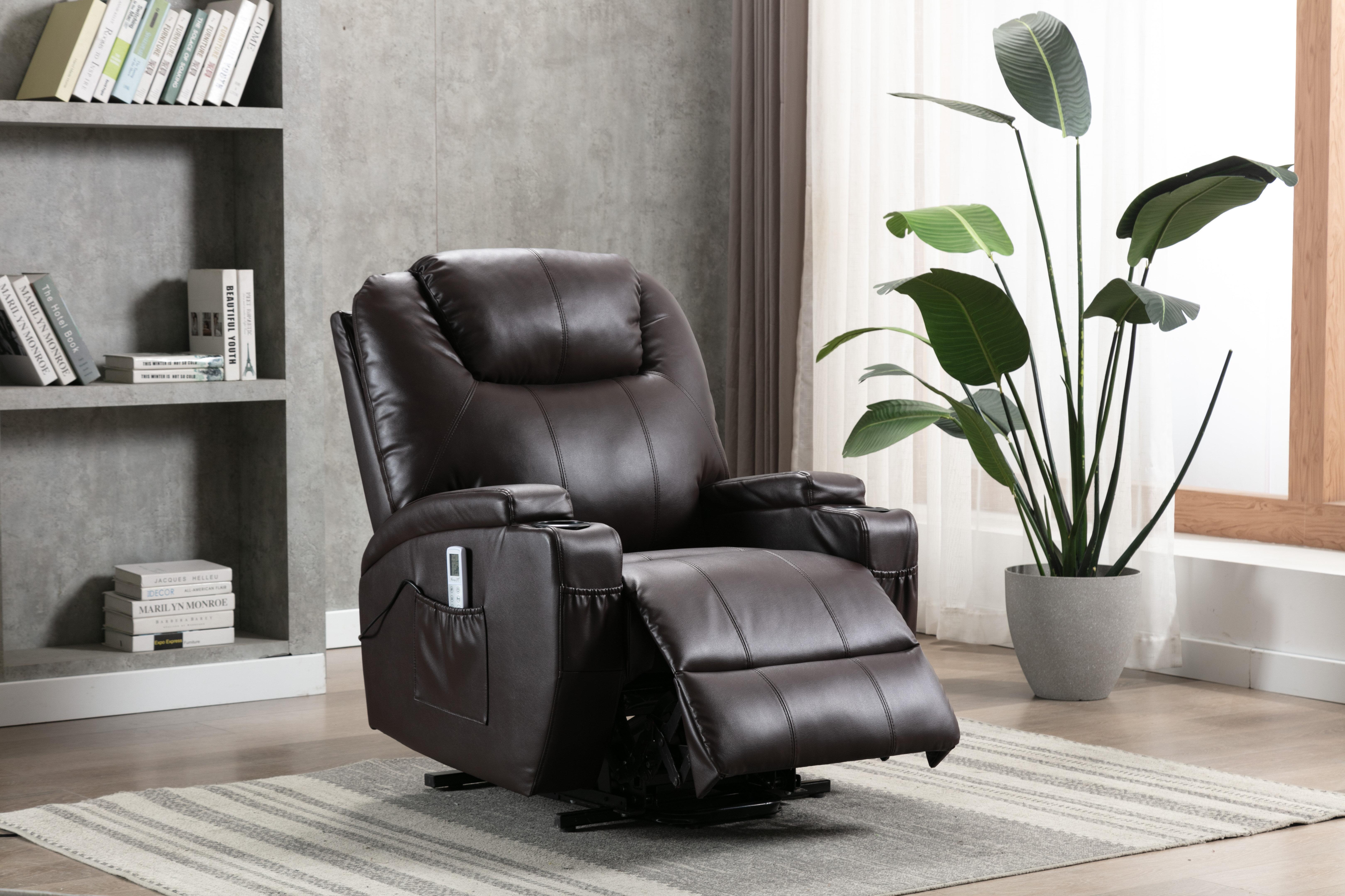 Ebern Designs Annarae Faux Leather Power Lift Assist Recliner With Massage Reviews Wayfair