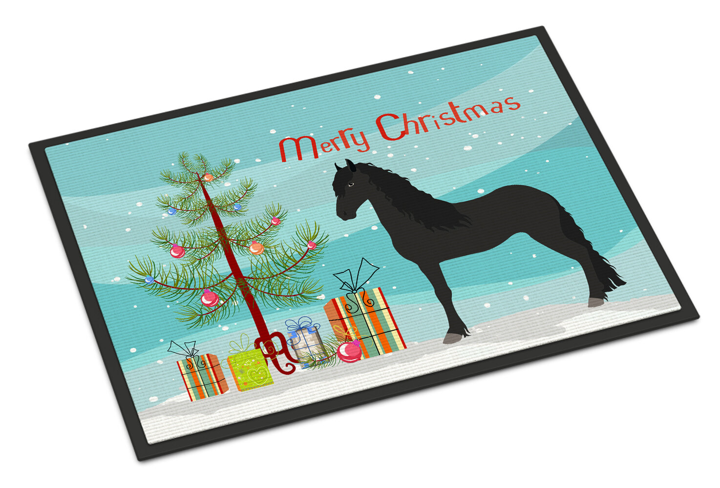 The Holiday Aisle Judith Friesian Horse Christmas Non Slip Outdoor Door Mat Wayfair