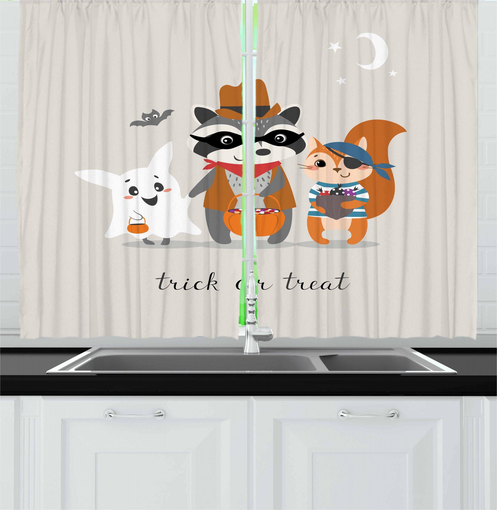 East Urban Home Ghost 2 Piece Kitchen Curtain Set Wayfair