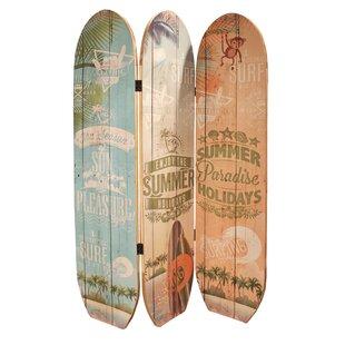 Bay Isle Home Sosebee Surfboard Summer 3 Panel Room Divider