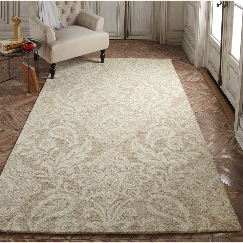 Burgos Floral Handmade Tufted Taupe Ivory Rug Reviews Birch Lane
