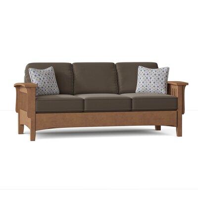 Warrington 85 Square Arm Sofa Loon Peak? Body Fabric: Steel Gray-23123D, Throw Pillow Fabric: Shore Multicolored-27227