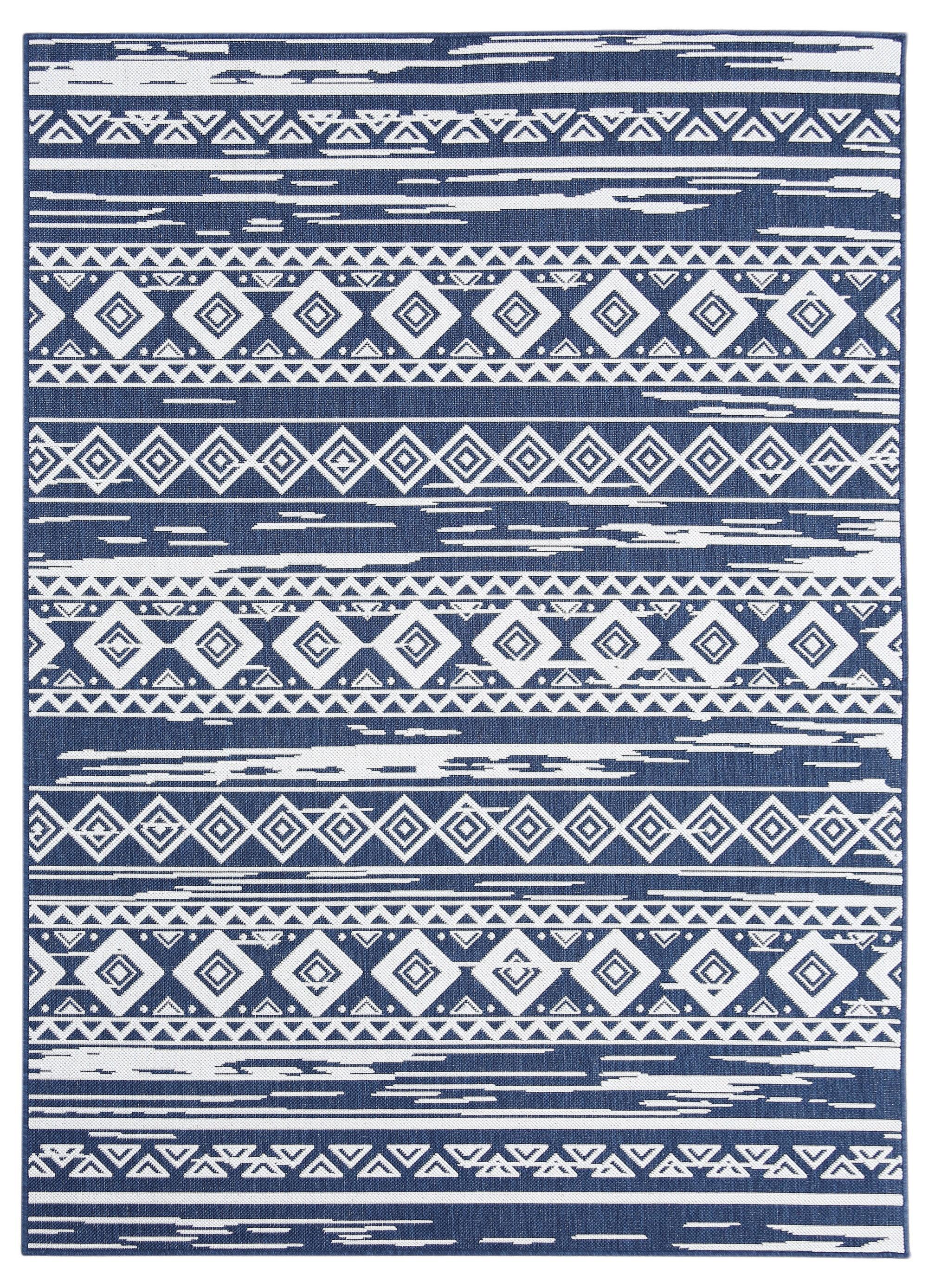 Union Rustic Eveloe All Weather Tribal Motif Navy Blue Indoor Outdoor Area Rug Wayfair