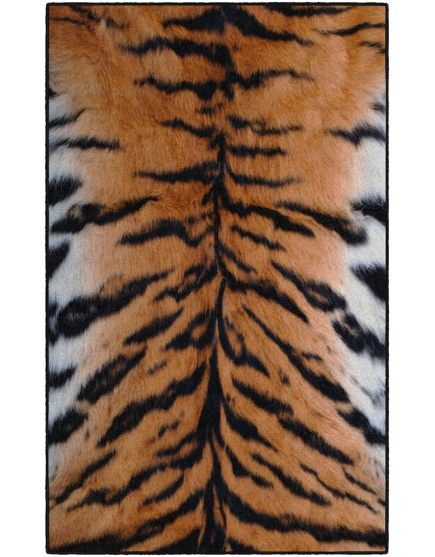 World Menagerie Latham Stripes Print Orange/Black Area Rug, Size: Rectangle 76 x 10
