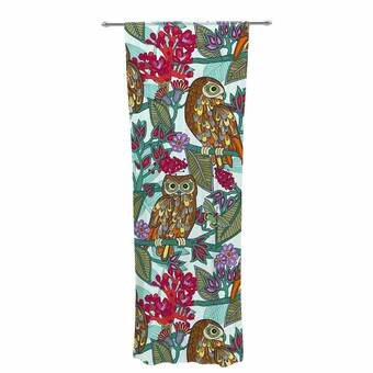Kess InHouse Sheer Curtains Mmartabc Pattern Feathers and Geometric 30 x 84