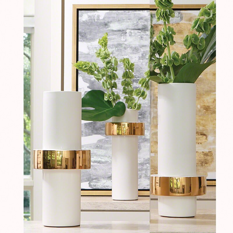 Willa Arlo Interiors White And Gold Ceramic Midband Vase Wayfair