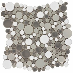Penny Round Bubbles Random Sized Ceramic Mosaic Tile in Gray/White