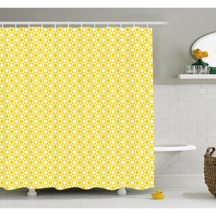 Circles in Squares Dots Like Patterned Modern Cool Geometric Art Print Shower Curtain Set