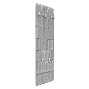Concrete Tile Wallpaper Wall Mounted Coat Rack By Symple Stuff