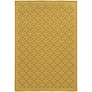Liza Geometric Gold/Ivory Indoor/Outdoor Area Rug