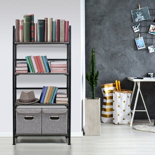 Compare & Buy Salvaggio Folding Rack 4-Tiers Storage Rack Standard Bookcase by Red Barrel Studio