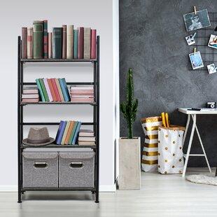 Price comparison Salvaggio Folding Rack 4-Tiers Storage Rack Standard Bookcase by Red Barrel Studio