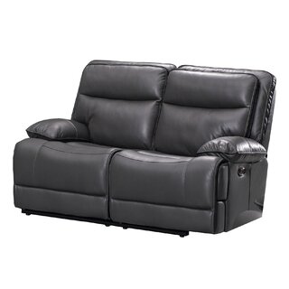 Dual Power Recliner Leatherette Loveseat With Power Headrest, Gray by Red Barrel Studio SKU:CD430907 Order