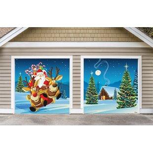 Santa's Take Off 2 Piece Garage Door Mural