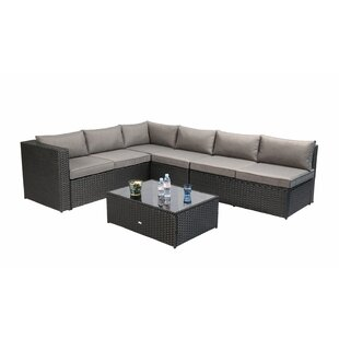 Avis 4 Piece Rattan Sectional Seating Group with Cushions