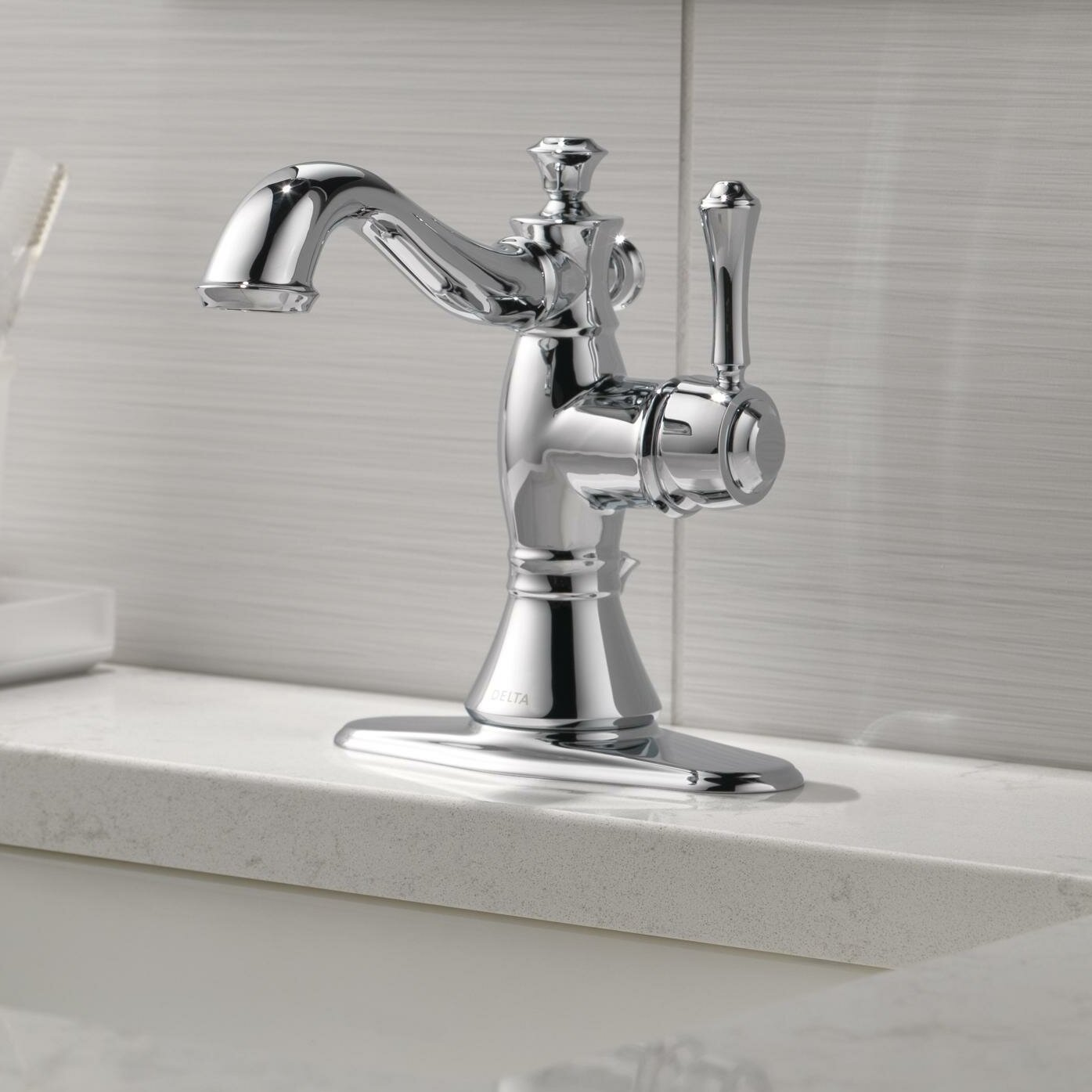 Delta Bathroom Faucets.Cassidy Single Hole Bathroom Faucet With Drain Assembly