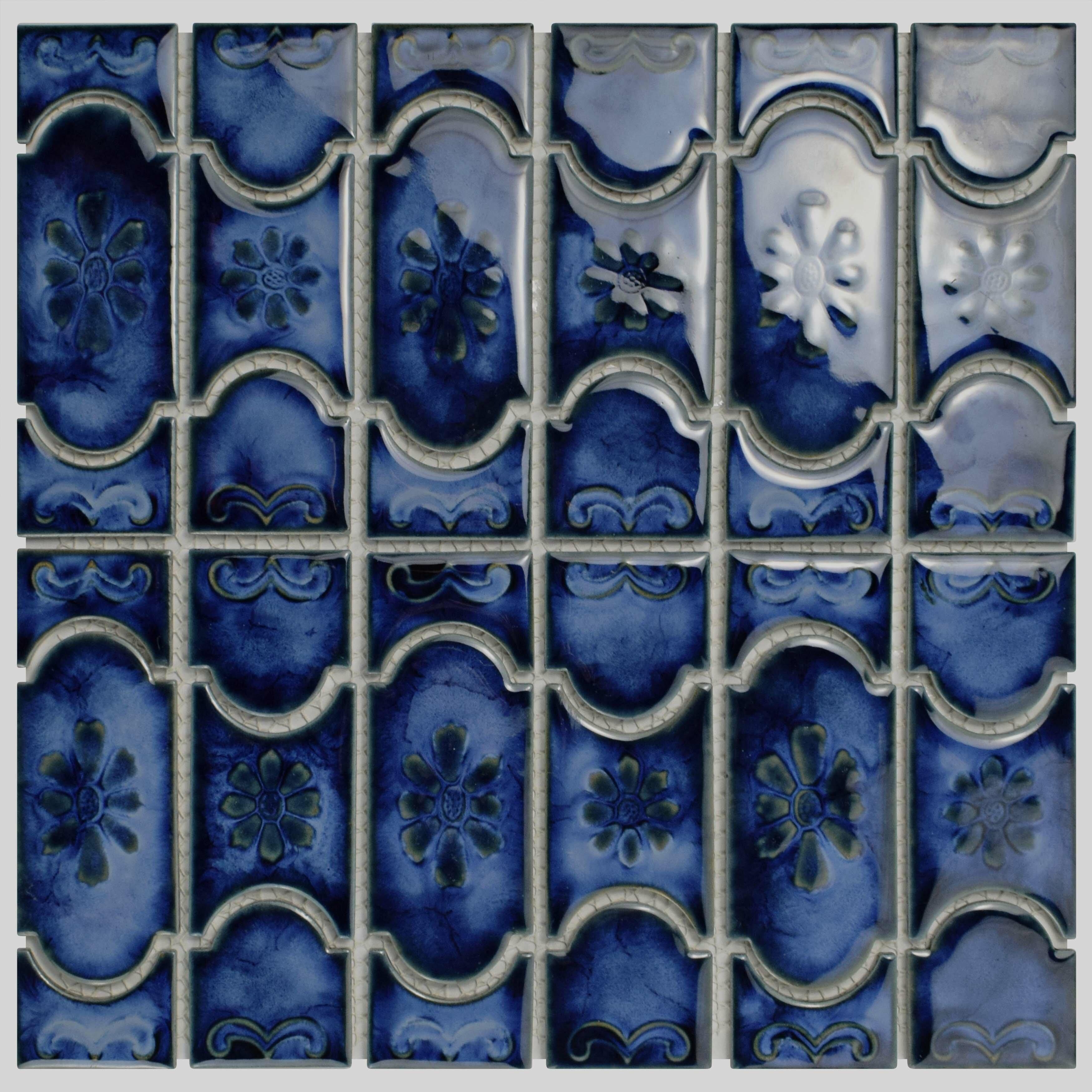 Elitetile Mondego Porcelain Mosaic Tile In Blue Amp Reviews
