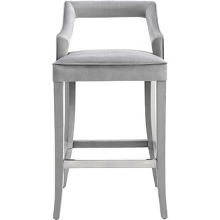 Sharron Velvet 26 Bar Stool by Everly Quinn