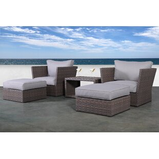 Cody 5 Piece Rattan 2 Person Seating Group with Cushions