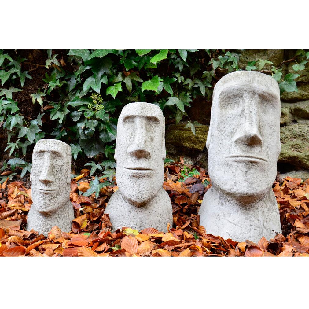 Garden Ornaments By Onefold 3 Piece Moai Head Stone Garden Statue Set U0026  Reviews | Wayfair.co.uk