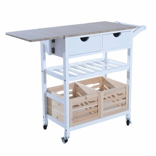 Nikolai Rolling Drop-Leaf Kitchen Cart Winston Porter