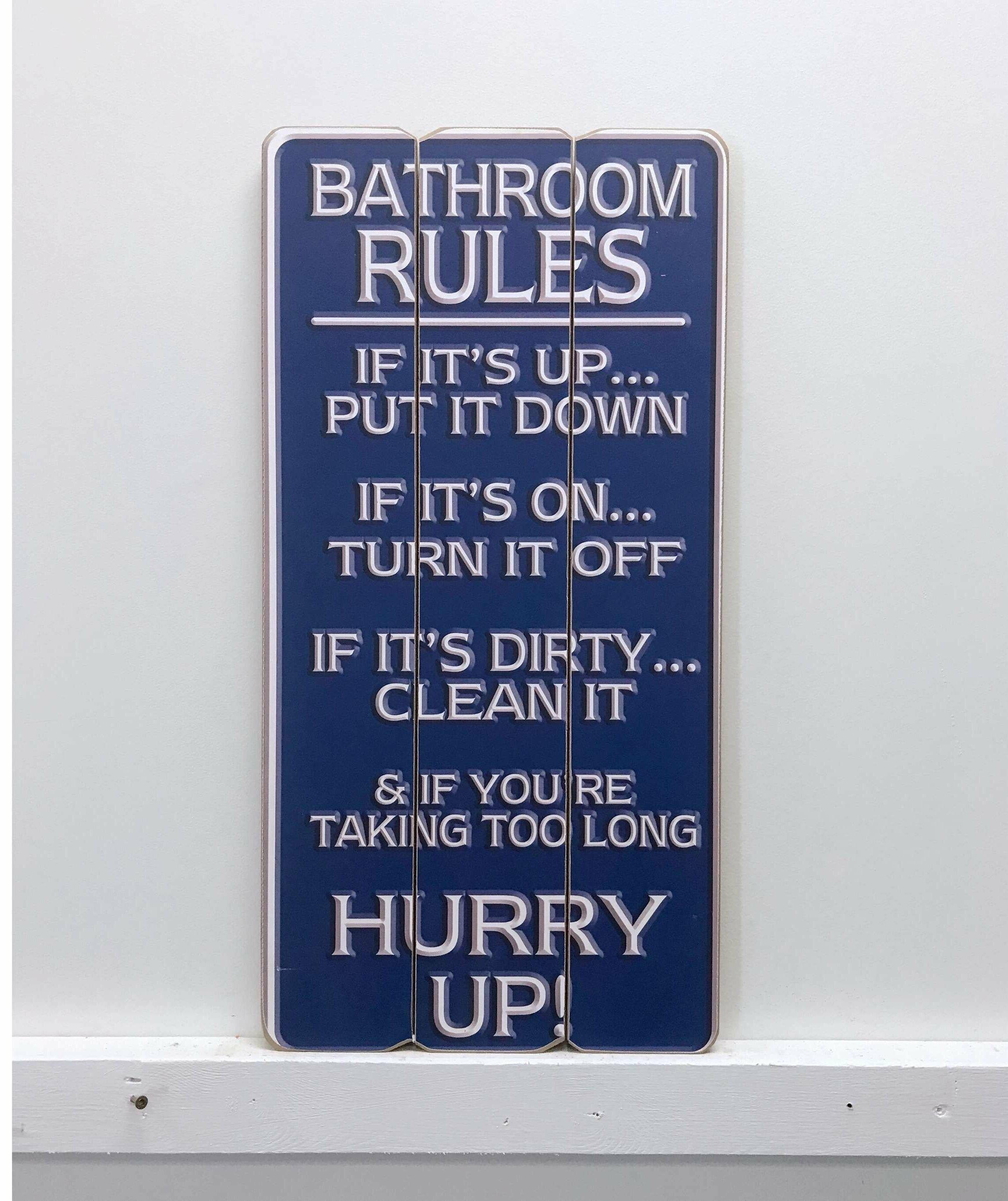 Winston Porter Bathroom Rules Wooden Sign Wall Décor Wayfair