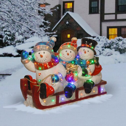 Sledding 3 Snowmen Christmas Decoration