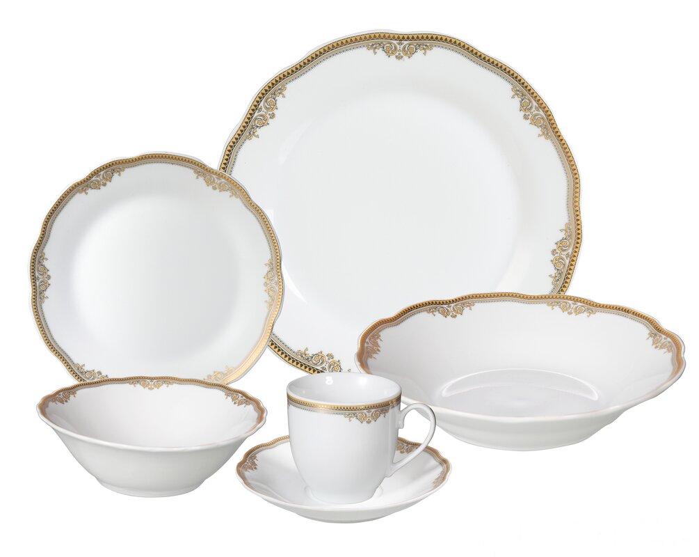 Catherine 24 Piece Porcelain Dinnerware Set Service for 4  sc 1 st  Wayfair & Lorren Home Trends Catherine 24 Piece Porcelain Dinnerware Set ...