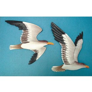 2 Seagull Wall Mount Plaques~ Hand Painted Sea Shore Birds~Nautical Decor~