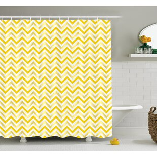 Chevron Abstract Zig Zag Pattern Striped Cool Geometric 90s Style Art Shower Curtain Set
