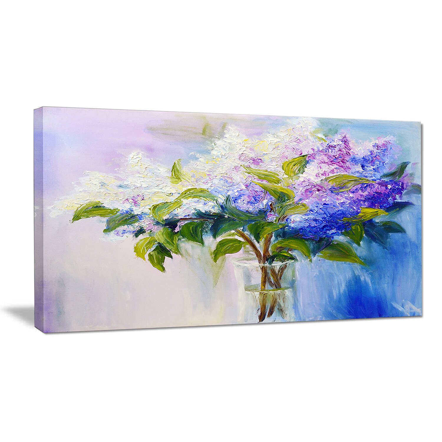 Charlton Home Blue And White Lilacs In Vase Floral Painting Print On Wrapped Canvas Wayfair