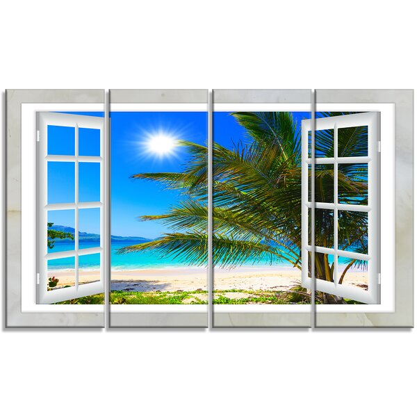 Designart Window Open To Beach With Palm 4 Piece Graphic Art Print On Wrapped Canvas Set Wayfair