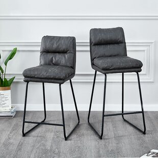 Homan PU Leather 27 Bar Stool (Set of 2) Wrought Studio