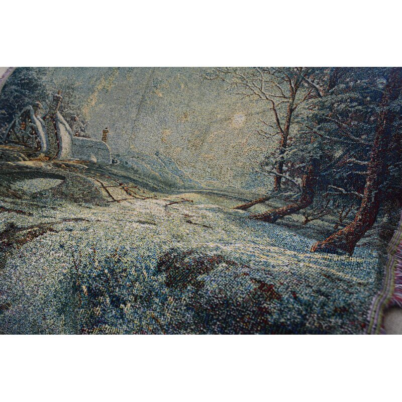 The Holiday Aisle Pabst Holiday Snowy Winter Cottage Tapestry Throw Wayfair