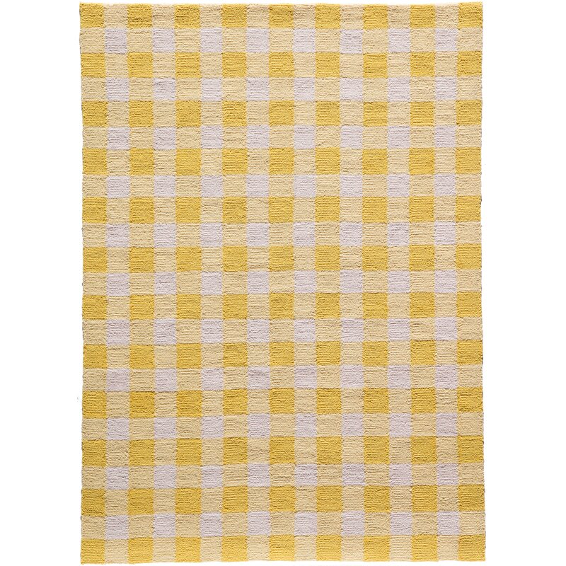August Grove Violet Hand-Woven Yellow/White Area Rug, Size: Rectangle 76 x 96