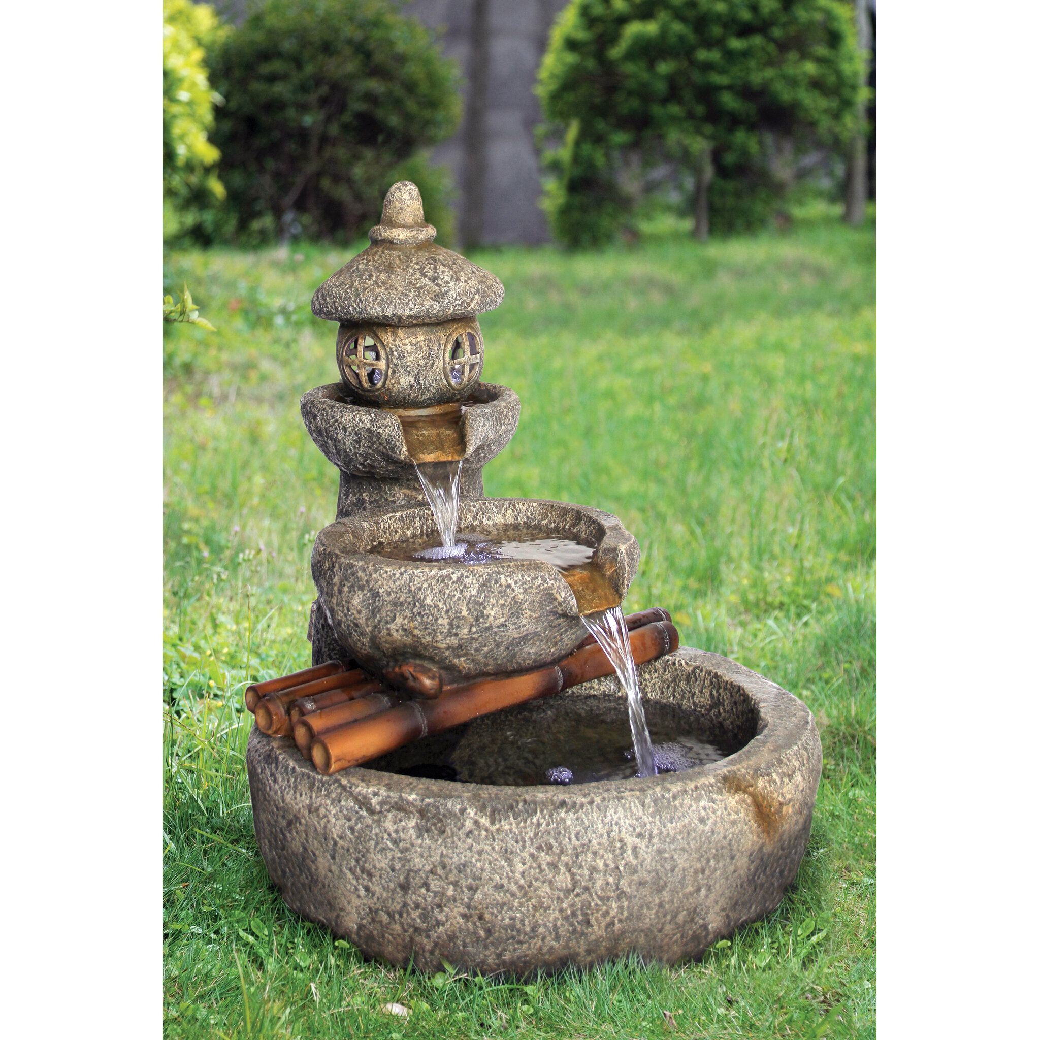 Resin Pagoda Garden Tiered Fountain with LED Light